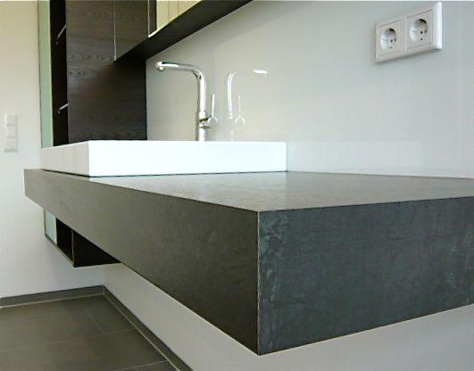 Waschtischplatte schiefer  Waschtischplatte Granit: Waschtisch design luxus flußstein holz ...